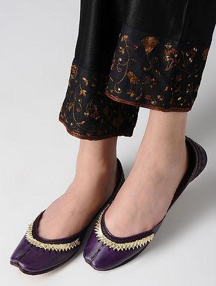 Purple Gota Embroidered Leather Juttis
