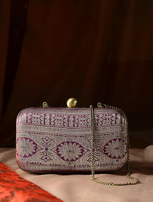 Multicolored Handcrafted Vintage Benarasi Silk Brocade Clutch
