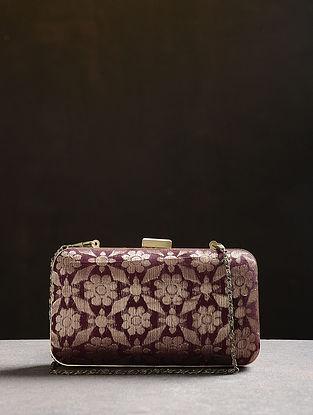 Brown Handcrafted Vintage Benarasi Silk Brocade Clutch