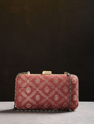 Red Handcrafted Vintage Benarasi Silk Brocade Clutch