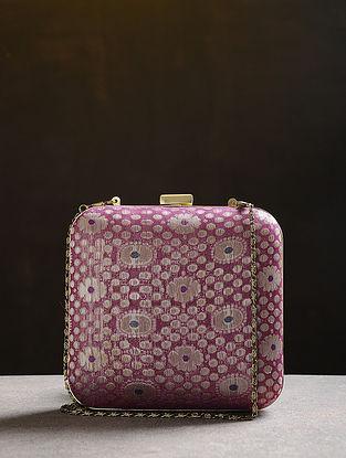 Purple Handcrafted Vintage Benarasi Silk Brocade Clutch