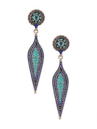 Blue Black Enameled Silver Earrings