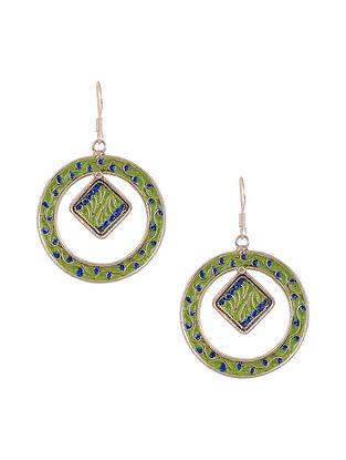 Blue Green Enameled Silver Earrings