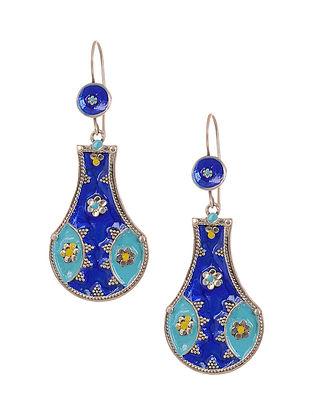 Blue Yellow Enameled Silver Earrings