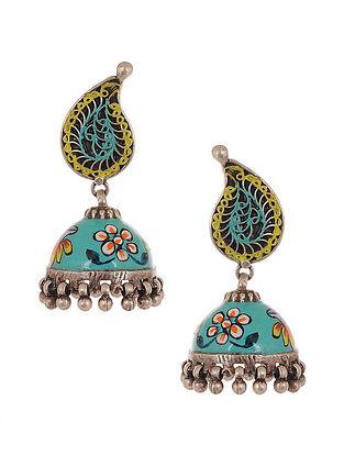 Multicolored Enameled Silver Jhumki Earrings
