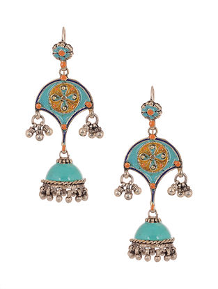 Blue Orange Enameled Silver Jhumki Earrings
