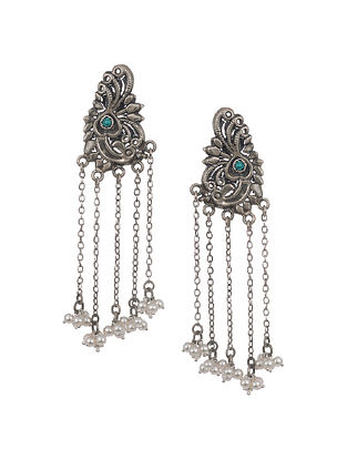 Tribal Silver Earrings with Turquoise and Pearls