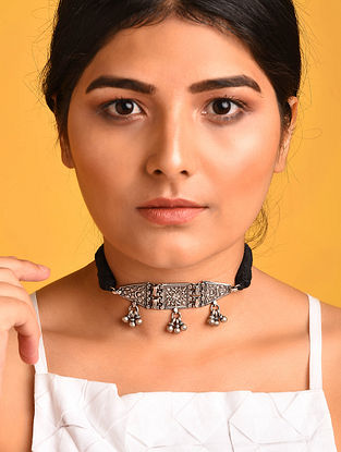 Black Tribal Silver Necklace