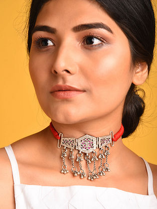 Red Tribal Silver Necklace