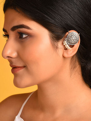 Tribal Silver Clip-On Ear Cuffs with Pearls
