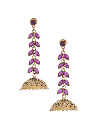 Pink Gold Plated Brass Jhumkis