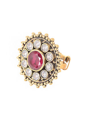 Red-White Gold Plated Adjustable Brass Ring