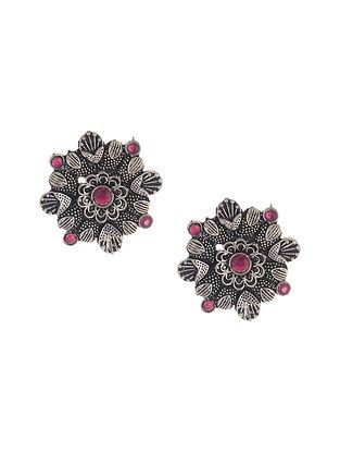 Pink Silver Tone Stud Earrings