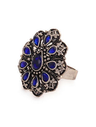 Blue Silver Tone Adjustable Ring