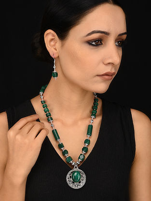 Green Silver Tone Necklace with Earrings (Set of 2)