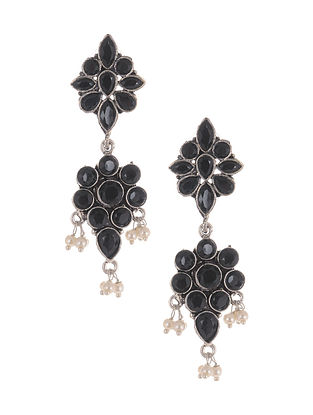 Black Silver Tone Earrings with Pearls