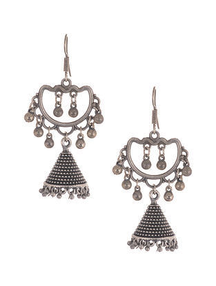 Silver Tone Jhumki Earrings