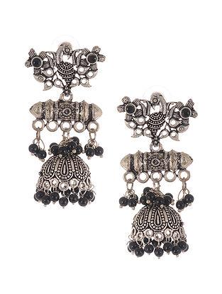 Black Silver Tone Jhumki Earrings