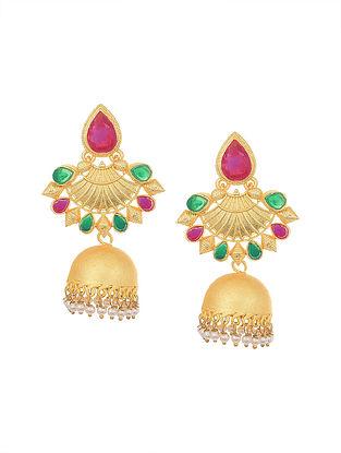 Maroon Green Gold Tone Jhumki Earrings with Pearls