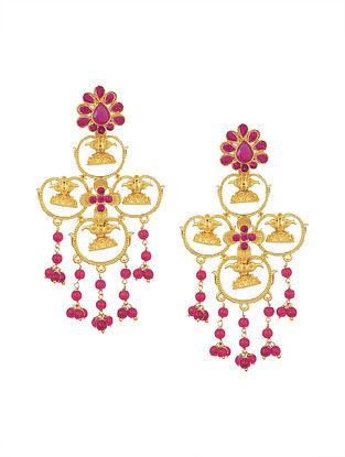 Maroon Gold Tone Beaded Earrings