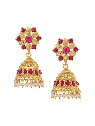 Maroon Gold Tone Jhumki Earrings with Pearls