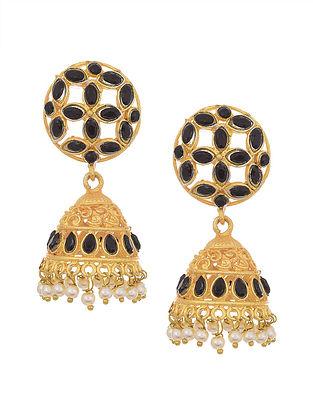 Black Gold Tone Jhumki Earrings with Pearls