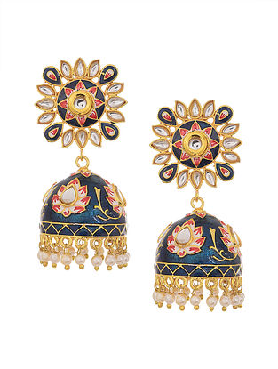 Blue Red Gold Tone Enameled Kundan Earrings with Pearls