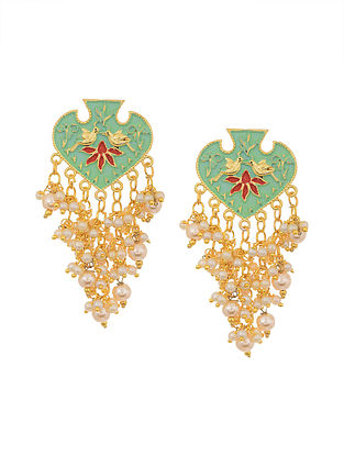 Green Red Gold Tone Enameled Earrings with Pearls