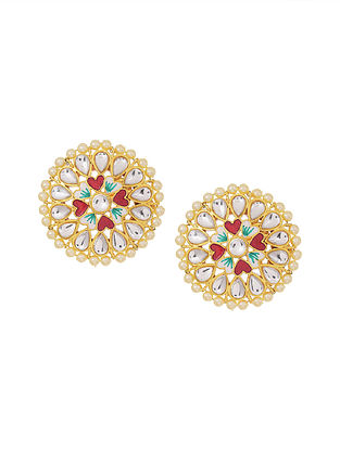 Red Green Gold Tone Enameled Kundan Earrings with Pearls