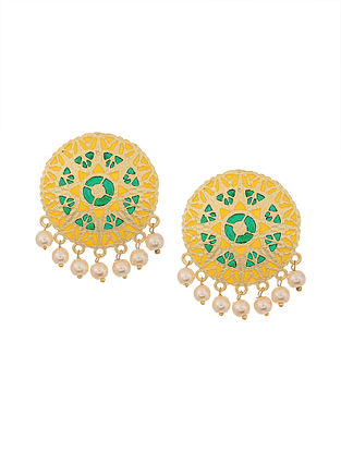 Yellow Green Gold Tone Enameled Earrings with Pearls
