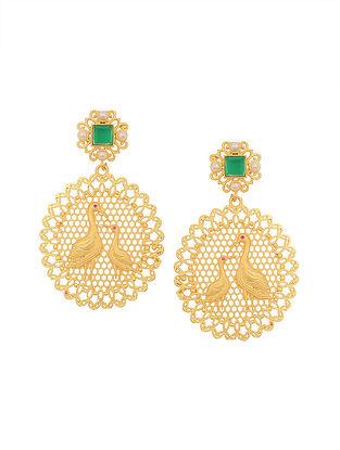 Green Gold Tone Jhumki Earrings with Pearls