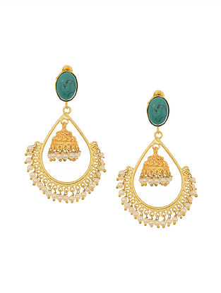 Turquoise Gold Tone Jhumki Earrings with Pearls
