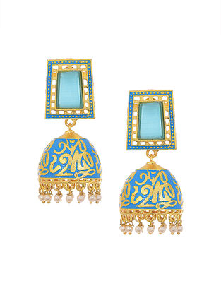 Blue Gold Tone Jhumki Earrings with Pearls