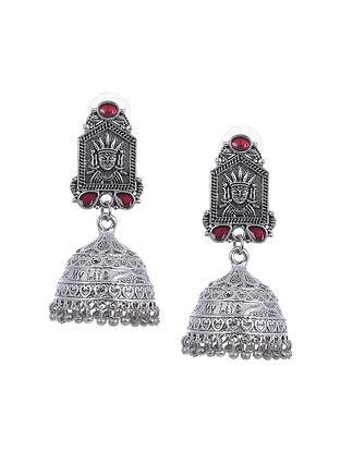 Maroon Silver Tone Handcrafted Earrings