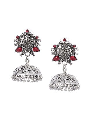 Red Silver Tone Handcrafted Earrings