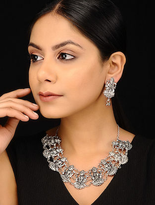 Silver Tone Handcrafted Necklace with Earrings (Set of 2)