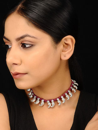 Maroon Silver Tone Handcrafted Necklace