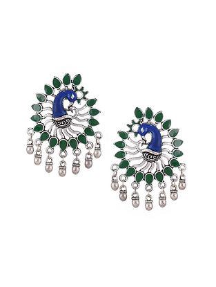 Green Blue Silver Tone Enameled Earrings