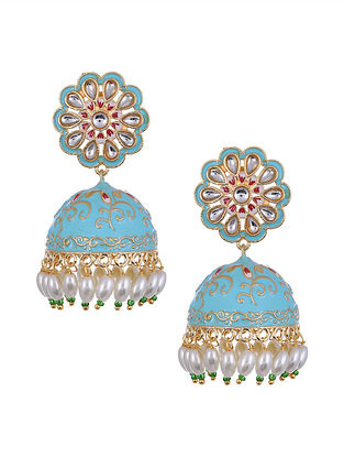 Blue Gold Tone Enameled Jhumki Earrings with Pearls