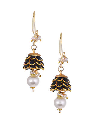 Black Gold Tone Handcrafted Earrings with Pearls