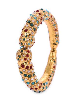Multicolored Gold Tone Handcrafted Cuff