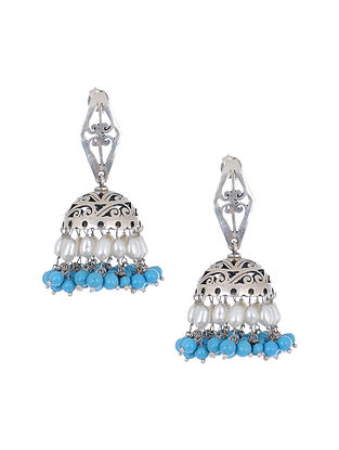 Silver Jhumki Earrings with Pearls and Turquoise