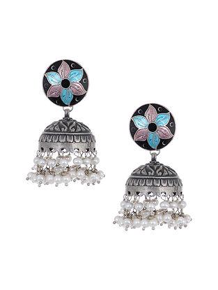 Blue Black Meenakari Silver Jhumki Earrings with Pearls