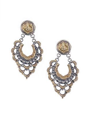 Dual Tone Silver Earrings with Lord Ganesha Motif