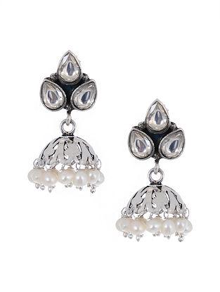 Silver Jhumki Earrings with Pearls