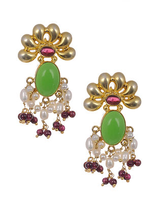 Green Purple Gold-plated Silver Earrings with Pearls