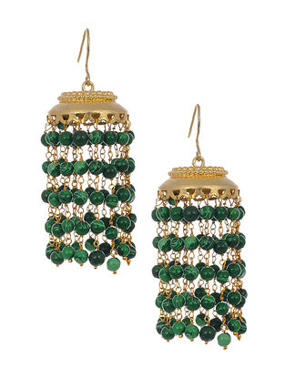 Green Gold-plated Silver Jhumki Earrings