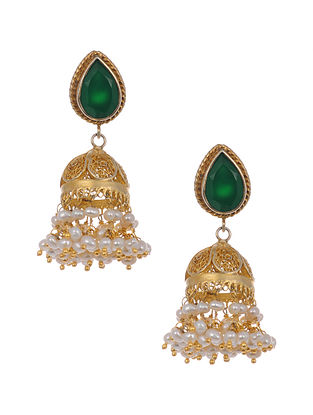 Green Gold-plated Silver Jhumki Earrings with Pearls