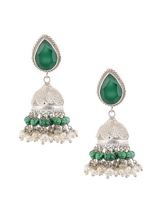 Green Jade and Pearl Silver Earrings