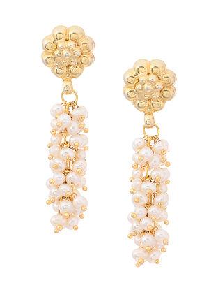Fresh Water Pearl Gold Tone Silver Earrings